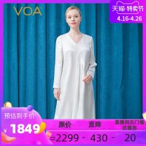 Dress Spring 2021 Silver flower on white background (w9) 155/S 160/M 165/L 170/XL 175/XXL 180/3XL Mid length dress singleton  Long sleeves commute V-neck Loose waist Big flower Socket other routine Others 35-39 years old Type H VOA lady Bright silk embroidery with asymmetric folds AE756 More than 95%
