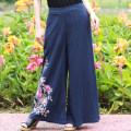 Casual pants White, blue, black Average size Summer of 2018 trousers Wide leg pants Natural waist commute routine Huajianyu ethnic style Embroidery