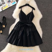 Dress Summer of 2018 White, yellow, red, black S,M,L,XL Short skirt singleton  Sleeveless Sweet V-neck High waist Solid color A-line skirt camisole Type A bow princess