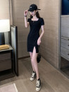 Dress Summer 2021 black S M L XL 2XL Short skirt singleton  Short sleeve commute square neck High waist Solid color Socket routine 18-24 years old Giovanti Splicing B01126 More than 95% other Other 100% Pure e-commerce (online only)