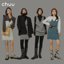 Dress Spring 2021 Blue, white, gray, reserved space, 1 reserved space, 2 reserved space, 3 reserved space Average size Short skirt singleton  Sleeveless commute V-neck Loose waist Solid color Socket other straps 18-24 years old Type H chuu Korean version pocket BHB1206P acrylic fibres