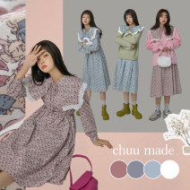 Dress Spring 2021 Don't shoot 1 reserved space in pink, don't shoot 2 reserved space in blue Average size Mid length dress singleton  Long sleeves commute Doll Collar High waist Broken flowers Socket A-line skirt Others 18-24 years old Type A chuu Korean version Lace up BHB1200G More than 95% cotton