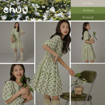 Dress Summer 2021 Don't shoot 1 green for reserved space Average size Short skirt singleton  Short sleeve commute Crew neck High waist Dot Socket Big swing routine Others 18-24 years old Type A chuu Korean version BHB2203W More than 95% other cotton Cotton 100%