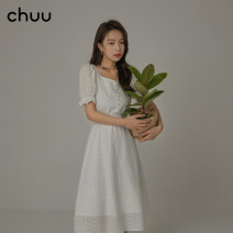 Dress Spring 2021 white S M L Short skirt singleton  Short sleeve commute other High waist Solid color Single breasted A-line skirt puff sleeve Others 18-24 years old Type A chuu Korean version Gouhua hollow BHB1221J More than 95% other other Other 100%