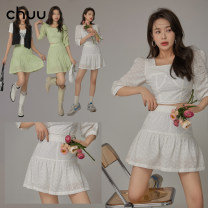 skirt Spring 2021 S M L Short skirt commute High waist A-line skirt Solid color Type A 18-24 years old More than 95% chuu other Gouhua hollow Korean version Other 100% Same model in shopping mall (sold online and offline)