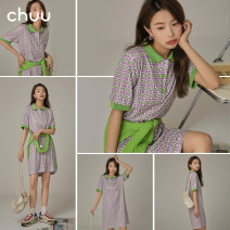 Dress Summer 2021 Purple pre sale starts on May 5 Average size Short skirt other Short sleeve commute Polo collar High waist Broken flowers Socket other routine Others 18-24 years old Type H chuu Korean version Stitching buttons BHB2205J More than 95% other other Other 100%