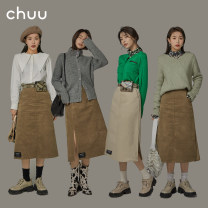 skirt Spring 2021 S M L Pre sale of khaki apricot Khaki Mid length dress commute High waist A-line skirt Solid color Type A 18-24 years old BHP1202J More than 95% chuu cotton Korean version Cotton 100% Same model in shopping mall (sold online and offline)