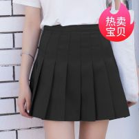skirt Summer 2017 40. 2XL, 3XL, XS order according to waistline, s good quality, m summer skirt, l no pilling, no fading White, gray, black, Burgundy, Navy, light pink Short skirt Versatile High waist A-line skirt Solid color Type A 18-24 years old BY-170001 other Other / other polyester fiber