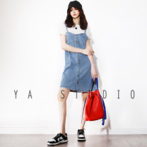 Dress Europe and America Short skirt Sleeveless singleton  street V-neck Solid color A-line skirt Type A camisole 014 Summer 2021 More than 95% Xiaoya's wardrobe S,M,L