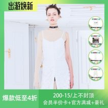 Dress Spring of 2019 white S,M,L Short skirt singleton  Sleeveless commute One word collar middle-waisted Solid color Socket other camisole 25-29 years old Type H devil beauty Simplicity Flocking DB19SS-DS130WH