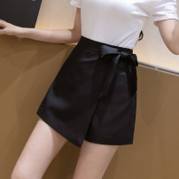 Casual pants Black and white S M L XL Summer 2021 shorts Wide leg pants High waist commute routine 25-29 years old Rose with thorns-2820 Mo Luoyan polyester fiber Korean version pocket polyester fiber Polyester 100% Pure e-commerce (online only) Asymmetry