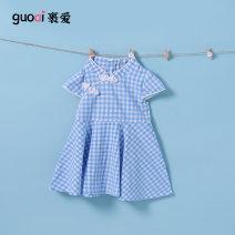 Dress blue female Love 80cm 90cm 100cm 110cm 120cm Polyester 100% summer college Short sleeve lattice cotton A-line skirt QX1256 Summer 2021 12 months, 18 months, 2 years old, 3 years old, 4 years old, 5 years old, 6 years old Chinese Mainland Guangdong Province Foshan City
