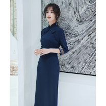 cheongsam Spring 2020 XS S M L XL XXL XXXL Long sleeves long cheongsam Retro High slit daily double-breasted  Solid color 25-35 years old Piping other Other 100% Pure e-commerce (online only) 96% and above