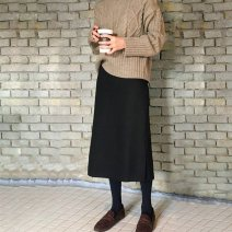 skirt Autumn of 2019 XS,S,M,L,XL,2XL,3XL,4XL Spring and autumn Roman cotton , Winter Roman cotton Mid length dress Versatile High waist High waist skirt Solid color Type H 25-29 years old GX9337G More than 95% polyester fiber