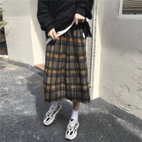 skirt Winter 2020 Average size Picture color Middle-skirt High waist lattice Type H Woolen plaid skirt 51% (inclusive) - 70% (inclusive)