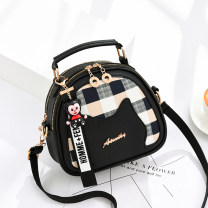 Bag Inclined shoulder bag PU Small round bun Other / other brand new European and American fashion in leisure time soft zipper no stripe Single root One shoulder portable messenger Yes youth Box shape Soft handle polyester fiber inside pocket with a zipper soft surface Open your pocket