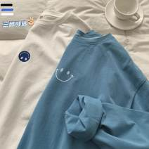 T-shirt White, black, blue S,M,L,XL,2XL,3XL,4XL Spring 2021 Long sleeves Crew neck easy Regular raglan sleeve commute cotton 86% (inclusive) -95% (inclusive) 18-24 years old Korean version youth Solid color Other TXT497 printing