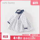 Dress female Cute Bunny 73cm 80cm 90cm 100cm 110cm 120cm Cotton 100% spring and autumn leisure time Long sleeves Broken flowers Pure cotton (100% cotton content) Pleats Class A Autumn 2020 12 months 6 months 9 months 18 months 2 years 3 years 4 years 5 years old