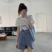 Square Dance Top White jacket, plaid skirt, white jacket + plaid skirt, collection plus purchase priority delivery S,M,L,XL female Short sleeve Two piece set other