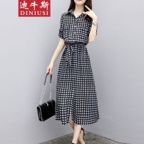 Square Dance Dress S,M,L,XL,2XL,3XL Picture color Aishang Short sleeve 40-49 years old lattice routine Medium length Loose waist female other