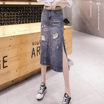 skirt Summer 2020 S M L XL 2XL 3XL Nostalgic color Mid length dress Versatile High waist skirt Solid color Type A 25-29 years old Denim Pure e-commerce (online only)
