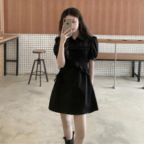 Dress Summer 2021 Short skirt singleton  Short sleeve commute Polo collar High waist Solid color Condom A-line skirt puff sleeve Type A Pleating, stitching, asymmetry 71% (inclusive) - 80% (inclusive) other S=1,M=2,L=3,XL=4 black