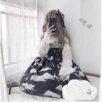 Dress Winter 2021 It is black with clip, cyan with clip, light blue with clip S,L Middle-skirt singleton  Sleeveless printing