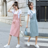 Dress Summer 2021 Off white + Khaki T, Yellow + white T, blue + white T, pink + white T, off white strap skirt, pink strap skirt, blue strap skirt, yellow strap skirt S,M,L,XL,2XL Mid length dress Two piece set Short sleeve commute Crew neck Loose waist Solid color Socket One pace skirt routine other