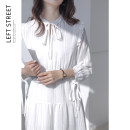 Dress Winter 2020 white S,M,L longuette singleton  Long sleeves commute stand collar High waist Solid color Socket A-line skirt routine 18-24 years old Type A Frenulum polyester fiber