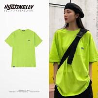 T-shirt Fluorescent green, orange Gunik M,L,XL female summer Short sleeve Crew neck Cotton 100% BF4109TQ 3 months