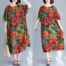 Women's large Summer of 2019 Graphic dress Big size average Dress singleton  commute easy thin Socket literature Crew neck six point zero nine Other / other Medium length