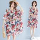 Women's large Summer 2021 Picture color Average size [recommended 110-240 kg] Dress singleton  commute easy Socket Short sleeve character Korean version Crew neck Medium length polyester printing and dyeing three point zero one Other / other Middle-skirt other