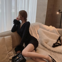 Dress Winter 2020 black S, M Mid length dress singleton  Long sleeves commute V-neck High waist Solid color Single breasted routine Type X Korean version T-D20Q01 31% (inclusive) - 50% (inclusive) knitting polyester fiber