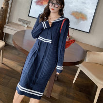 Women's large Winter 2020 blue Large XL, large XXL, large XXL Dress singleton  commute Straight cylinder thick Socket Long sleeves stripe Korean version Admiral Medium length routine Y-st257 dress 25-29 years old longuette