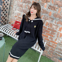 Women's large Autumn 2020 Jacket, dress Large XL, large XXL, large XXL Dress singleton  commute Straight cylinder thick Socket Long sleeves Solid color Korean version Hood Medium length routine S-st220 best friend 18-24 years old longuette
