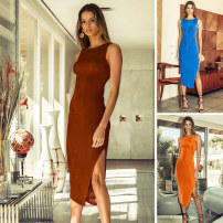 Dress Spring 2021 Blue, brown, orange 6,8,10,12,14 Short skirt singleton  Sleeveless commute Crew neck High waist Solid color Socket One pace skirt Others 25-29 years old Type A RUNAWAY Simplicity Flocking, backless More than 95% other