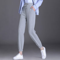 Casual pants Black, gray S,XL,4XL,5XL,6XL,L,M Spring 2021 trousers Pencil pants High waist commute routine 18-24 years old other belt nylon