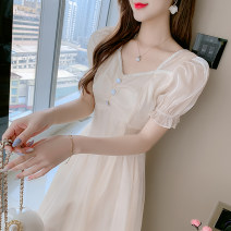 Women's large Summer 2021 Cream champagne S M L XL Dress singleton  commute Socket elbow sleeve Solid color Retro square neck puff sleeve 3712-01 Yingduo language 25-29 years old 31% (inclusive) - 50% (inclusive) Medium length Other 100% Pure e-commerce (online only) Princess Dress