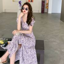 Women's large Summer 2021 Picture color S M L XL Dress singleton  commute Socket Retro V-neck routine Yingduo language 25-29 years old Medium length Other 100% Pure e-commerce (online only) other