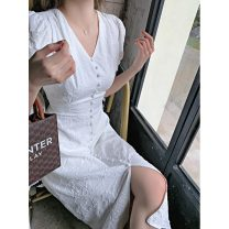 Women's large Summer 2021 white S M L XL Dress singleton  commute Socket Short sleeve Solid color Retro V-neck puff sleeve 8901-00 Yingduo language 25-29 years old Medium length Other 100% Pure e-commerce (online only) other