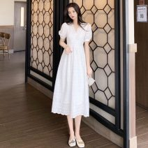 Lace / Chiffon Summer 2020 white S M L Short sleeve commute Socket singleton  Medium length V-neck Solid color puff sleeve 25-29 years old Yingduo language Retro Other 100% Pure e-commerce (online only)