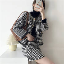 Cosplay women's wear suit goods in stock Over 14 years old Black and white thousand bird check top [single piece], black and white thousand bird check half skirt [single piece], top + Half skirt [suit] comic S,M,L