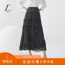 skirt Summer 2020 XS/150 S/155 M/160 L/165 XL/170 Black and white dots longuette commute High waist Pleated skirt Dot Type A 25-29 years old More than 95% L+ polyester fiber fold Retro Polyester 100% Same model in shopping mall (sold online and offline)