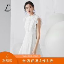 Dress Summer 2020 Ivory white pudding powder XS/150 S/155 M/160 L/165 XL/170 Short skirt singleton  Sleeveless commute Crew neck High waist Solid color zipper A-line skirt 25-29 years old Type A L+ lady Lotus leaf edge L0243518 71% (inclusive) - 80% (inclusive) modal  Modal 70.6% polyamide 29.4%