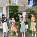 skirt Summer 2020 S,M,L Black, apricot, yellow, green, watermelon powder Mid length dress commute High waist A-line skirt Solid color Type A 18-24 years old D2612 Other / other Korean version