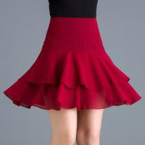 skirt Summer 2021 M,L,XL,2XL,3XL Short skirt commute High waist Cake skirt Dot Type A Chiffon Pleats, zippers Korean version 161g / m ^ 2 (including) - 180g / m ^ 2 (including)