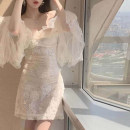 Dress Autumn 2020 white S,M,L,XL Short skirt singleton  Long sleeves commute One word collar High waist Solid color zipper A-line skirt pagoda sleeve Breast wrapping 18-24 years old Type A Homemade fish in a bowl Korean version Backless, pleated, stitched, Sequin, mesh, lace FL20342 other