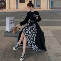 Dress Spring 2021 black S,M,L,XL longuette singleton  Long sleeves commute Crew neck High waist other Socket A-line skirt routine Others Type A Other / other Korean version Splicing 71% (inclusive) - 80% (inclusive) other polyester fiber