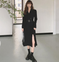 Dress Winter 2020 Black spot with belt S,M,L Mid length dress singleton  Long sleeves V-neck High waist Solid color Single breasted Big swing other Others Type A Other / other 91% (inclusive) - 95% (inclusive) other polyester fiber