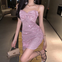 Dress Summer 2021 Pink S,M,L Short skirt singleton  Sleeveless Sweet One word collar High waist Solid color Socket One pace skirt camisole 18-24 years old Type A Other / other bow 81% (inclusive) - 90% (inclusive) other nylon